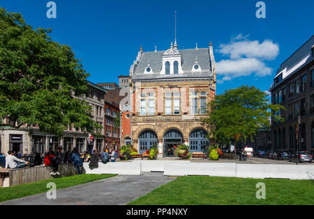 The exterior of Centre d'histoire de Montréal in the Old Town, Montreal, QC, Canada - Stock Photo