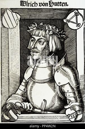 Ulrich von Hutten (1488-1523). German writer and theologian. Engraving. - Stock Photo