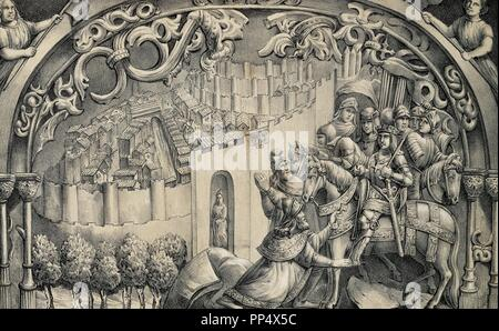 Boabdil (1460-1527), the last Nasrid ruler of Granada, gives the keys of the city to the Catholic Kings. Lithograph by J. Parra Bachiller reproducing a scene from the choir stalls of the Cathedral of Toledo. - Stock Photo