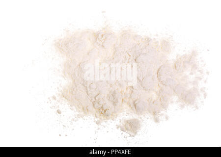 Pile of wheat flour isolated on white background. Top view. Flat lay - Stock Photo