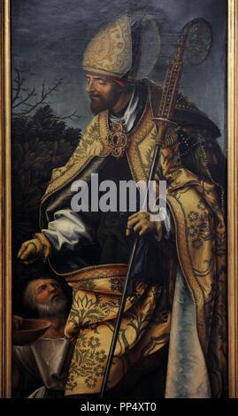 Hans Burgkmair the Elder (1473-1531). German painter. Saint John Altarpiece, 1518. Detail of Saint Martin of Tours. Alte Pinakothek. Munich. Germany. - Stock Photo
