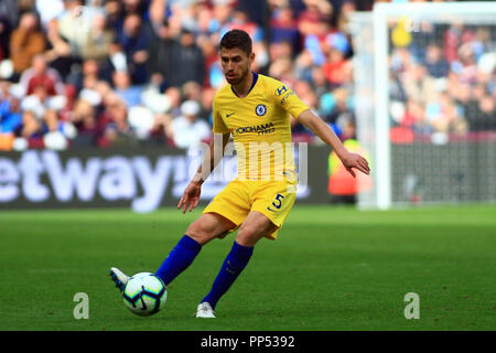 London, UK. 23rd Sept 2018. Jorginho of Chelsea in action.  Premier League match, West Ham United v Chelsea at the London Stadium, Queen Elizabeth Olympic Park in London on Sunday 23rd September 2018.  this image may only be used for Editorial purposes. Editorial use only, license required for commercial use. No use in betting, games or a single club/league/player publications . pic by Steffan Bowen/Andrew Orchard sports photography/Alamy Live news - Stock Photo