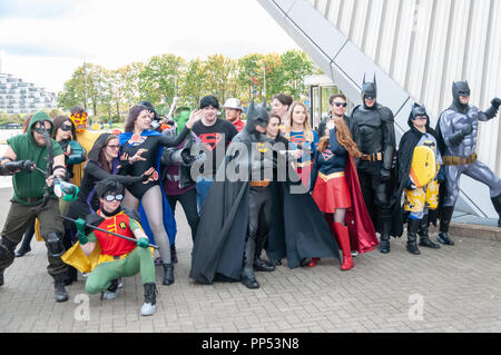 Glasgow, Scotland, UK. 23rd September, 2018. Cosplayers arriving on day two of the MCM Scotland Comic Con held at the SEC Centre. Credit: Skully/Alamy Live News - Stock Photo