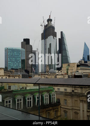 London, UK. 23rd Sept 2018. View of Tower 42 and The Scalpel from the roof top of Bloomberg European Headquarters. Bloomberg takes part in the 26th London Open House weekend Bloomberg's European headquarters is the world's most sustainable office building. Home to the financial technology and information company's 4,000 London-based employees, its unique design promotes collaboration and innovation. - Stock Photo