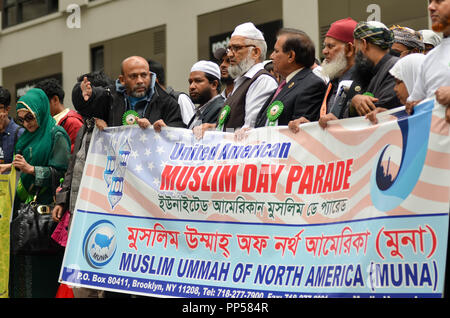 New York, USA. 23rd Sept 2018. The Annual Muslim day parade started with prayers and New York Muslims marched through Madison Avenue in New York City. Credit: Ryan Rahman/Alamy Live News - Stock Photo
