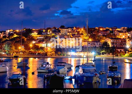 Island town of Krk evening waterfront view, Kvarner region of Croatia - Stock Photo