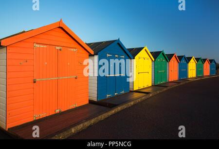 Beach Huts in Dawlish Warren, Devon,UK - Stock Photo