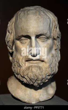 Euripides (480-406 BC). Greek tragedian. Marble. Bust. Roman copy after an greek original of 4th century BC. Neues Museum. Berlin. Germany. - Stock Photo