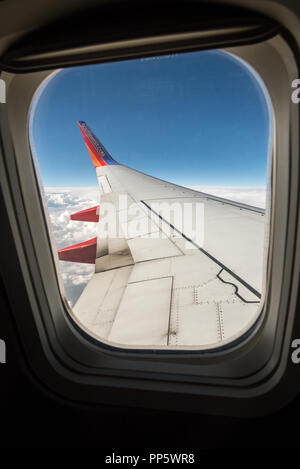 View out the window of a Southwest Airlines jet. - Stock Photo