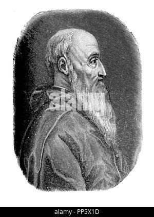 Engraving portrait of Pietro Bembo (1470-1547), Italian scholar,poet and cardinal, infuential in the development of Italian language - Stock Photo