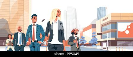 business people group diverse team successful men women over cityscape background male female cartoon character portrait flat horizontal banner - Stock Photo