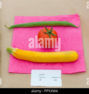 A simple entry for class 89 Collection of Three Different Vegetables in the Horticulture Section of annual Stokesley Agricultural Show 2018 - Stock Photo