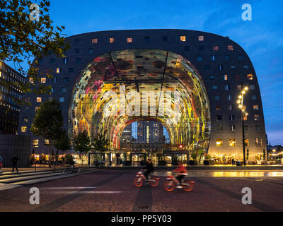 Rotterdam Markthal Rotterdam Market Hall opened 2014 comprises a large market hall with residential apartments and offices above. Architect MVRDV - Stock Photo