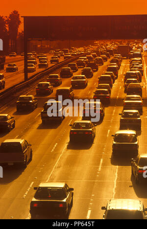 1992 HISTORICAL ROAD TRAFFIC ROUTE 101 HARBOR FREEWAY LOS ANGELES CALIFORNIA USA - Stock Photo