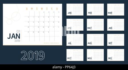 Vector of 2019 new year calendar in clean minimal blue table simple style,Holiday event planner,Week Starts Sunday.include holiday event.A5 size - Stock Photo