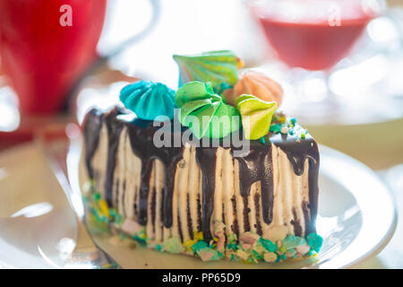 chocolate cake with marshmallow, christmas dessert - Stock Photo