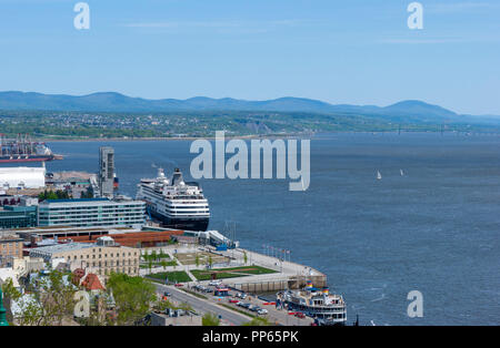 """View of the Port of Quebec from the """"Promenade des Gouverneurs"""". A cruise ship is docked in the harbor. Québec City. Québec, Canada. - Stock Photo"""