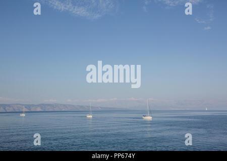 Boats sailing from Makarska riviera to Jelsa town on Hvar island, Croatia 2018 - Stock Photo