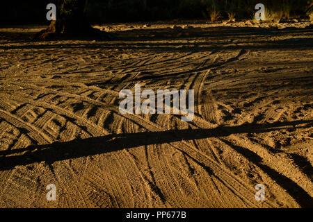 Wheel tracks in a sandy road, Western Australia , Australia - Stock Photo