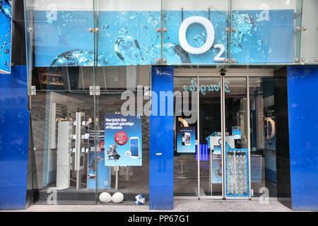 DORTMUND, GERMANY - JULY 15: O2 mobile phone store on July 15, 2012 in Dortmund, Germany. O2 had 3.745 billion EUR revenue in 2009. - Stock Photo