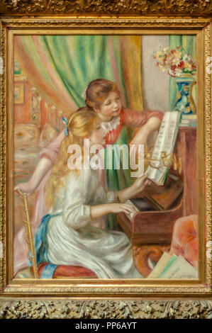 Pierre-Auguste Renoir-Young Girls at the Piano 1892. Musée d'Orsay; Paris - Stock Photo
