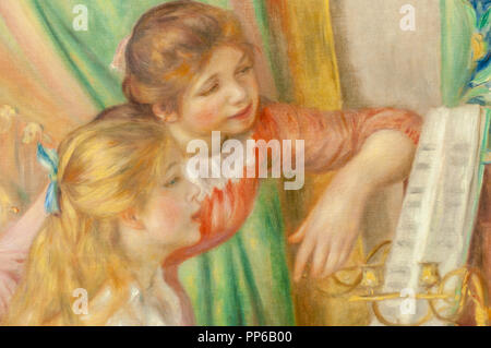 Pierre-Auguste Renoir-Young Girls at the Piano (Detail) 1892. Musée d'Orsay; Paris - Stock Photo