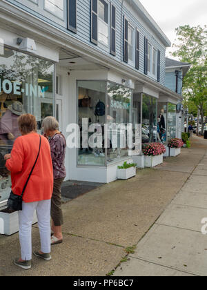 Main Street Westhampton Beach in the Hamptons, Long Island, New York, USA. - Stock Photo