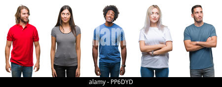 Composition of african american, hispanic and caucasian group of people over isolated white background smiling looking side and staring away thinking. - Stock Photo