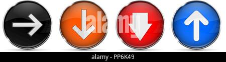 Colored 3d buttons with arrows. Round glass shiny icons - Stock Photo