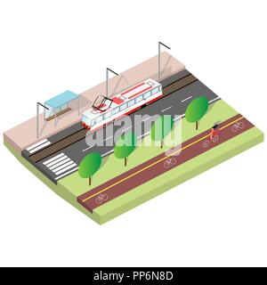 cityscape with a tram in an isometric view - Stock Photo