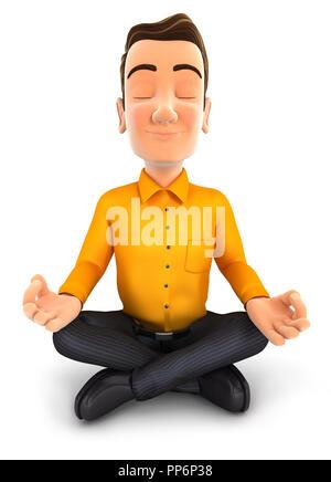 3d man doing yoga, illustration with isolated white background - Stock Photo