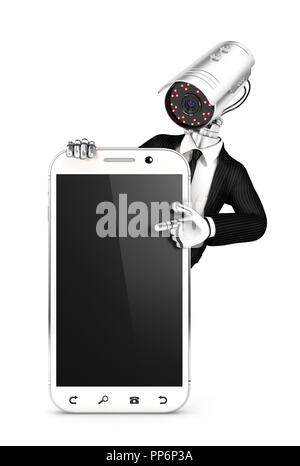 3d security agent with camera head pointing to blank smartphone, illustration with isolated white background - Stock Photo