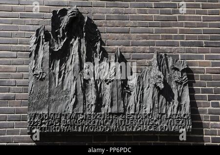 Poland. Krakow. Gestapo Museum. Memorial dedicated to the victims. Facade of the museum. - Stock Photo