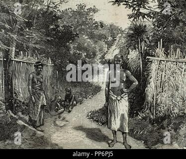 French imperialism. Africa. Dahomey. A street of Porto-Novo. Official residence of the French governor. Engraving in The Spanish and American Illustration, 1890. - Stock Photo