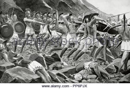 Leonidas I (d. 480 BC). King of Sparta (490-480). Leonidas and the Three Hundred at Thermopylae. Greco-Persian Wars. Engraving in History of Nations. - Stock Photo