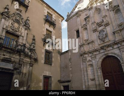 Spain. Cuenca. Conciliar Seminary of Saint Julian, 16th-18th centuries, and Convent of the Blessed Virgin Mary of Mercy, 18th century. Facade. Merced Square. - Stock Photo
