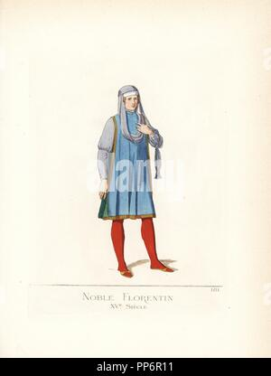 Nobleman of Florence, 15th century. He wears a violet bonnet, violet scarf draped over the chest and shoulder, violet doublet, blue cape, red stockings and slippers. From the tomb of Francesco Tornabuoni sculpted by Mino da Fiesole in the Church of Santa Maria sopra Minerva. Handcoloured illustration drawn and lithographed by Paul Mercuri with text by Camille Bonnard from 'Historical Costumes from the 12th to 15th Centuries,' Levy Fils, Paris, 1861. - Stock Photo