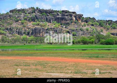 Arnhem Land escarpment close to Oenpelli,Northern Territory, Top End, Australia - Stock Photo