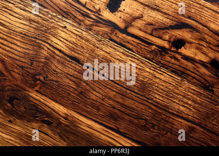 Oak wood table. Authentic board. Top view. - Stock Photo