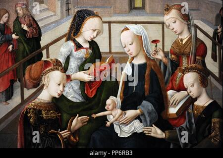 Master of the Virgo inter Virgines (active c. 1475-1510). The Virgin and Child with Four Holy Virgins, c. 1495-1500. Detail. Rijksmuseum. Amsterdam. Holland. - Stock Photo