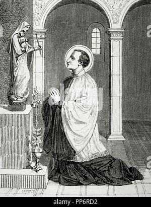 Saint Aloysius Gonzaga (1568-1591). Italian Jesuit. Engraving by Castello. Christian Year, 1852. - Stock Photo