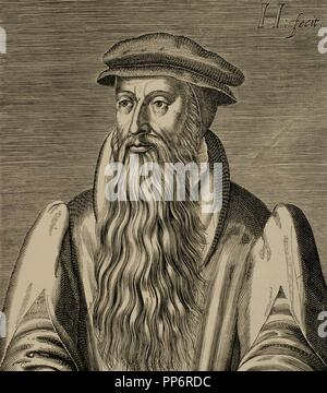John Knox (1514-1572). Scottish priest, leader of the Protestant Reformation in Scotland. Engraving by H. Hondins The Young. The Universal History, 1885. - Stock Photo