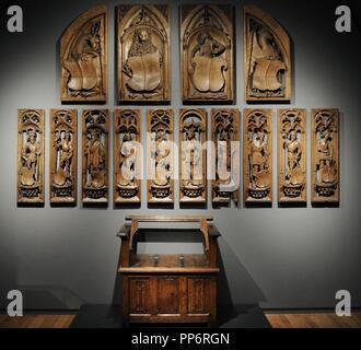 Jan Eerstensz van Schayck (c.1470-1527). Panels from an organ case in the Church of Saint Vitus (Naarden). Utrecht, 1510-1520. And oak's settle of Northern Netherlands, c. 1500. Rijksmuseum. Amsterdam. Holland. - Stock Photo