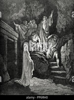 Resurrection of Lazarus. Engraving by Gustave Dore. Gospel of John, XI. - Stock Photo