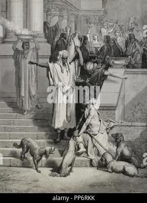The Parable of Jesus, the Rich man and Lazarus. Gospel of Luke. Engraving by Gustave Dore. 19th century. - Stock Photo