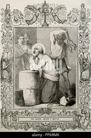 Lazarus of Bethany or Saint Lazarus. Jesus restores him to life for days after his death. Engraving by Cibera 'Ano Cristiano', 1853. Martyrdom. - Stock Photo