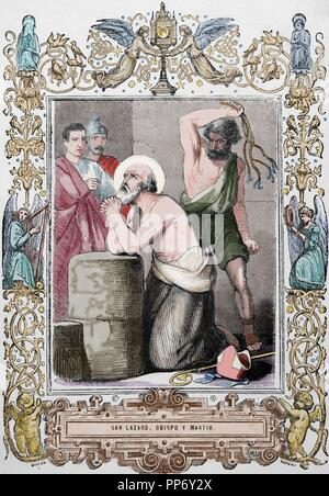 Lazarus of Bethany or Saint Lazarus. Jesus restores him to life for days after his death. Martyrdom. Engraving by Cibera 'Ano Cristiano', 1853. Colored. - Stock Photo