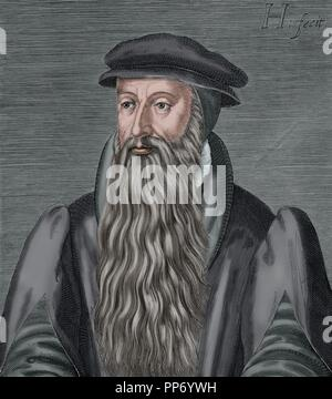 John Knox (1514-1572). Scottish priest, leader of the Protestant Reformation in Scotland. Engraving by H. Hondins The Young. The Universal History, 1885. Colored. - Stock Photo