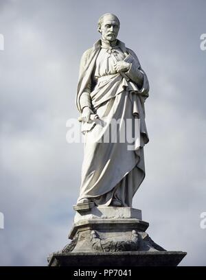 IGNACIO DE LOYOLA, San (Iñigo López de Loyola). (Loyola-Azpeitia,1491-Roma,1556). Fundador de la Compañía de Jesús. Fué canonizado en 1622. Estatua frente al Santuario de Loiola. Loyola (Loiola). Provincia de Guipúzcoa. País Vasco. - Stock Photo