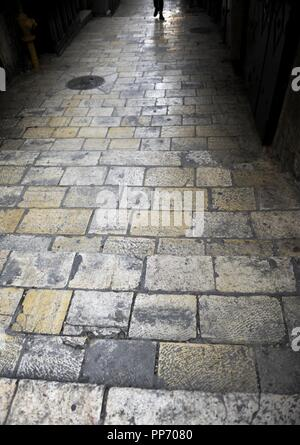 Israel. Jerusalem. Via Dolorosa. Street of Old City, which traditionally Jesus walked carrying the cross, way to his crucifixion. - Stock Photo